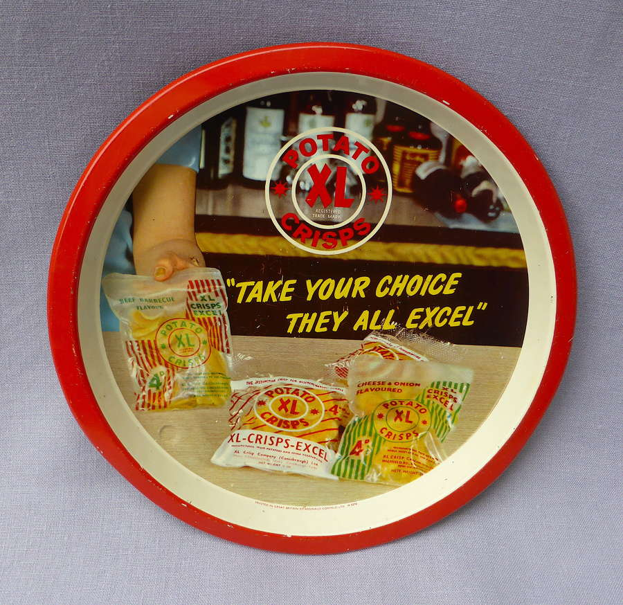 1960s XL Potato Crisps Advertising Pub Tray
