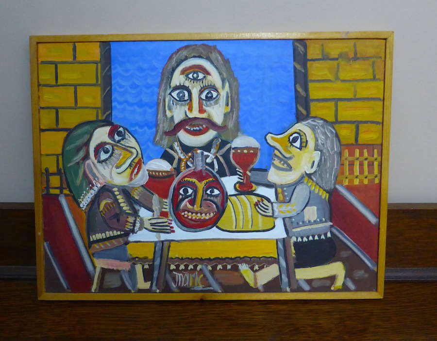 Signed Naive Folk Art Painting by Ioan Maric