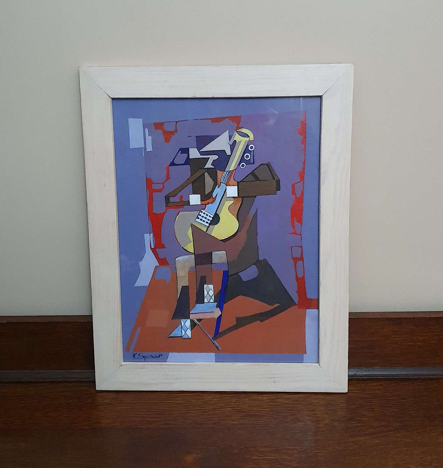 Framed & Signed Cubist Style Painting