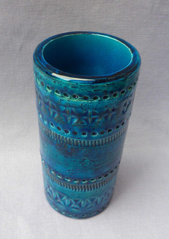 Mid Century Bitossi Rimini Blu Vase by Aldo Londi