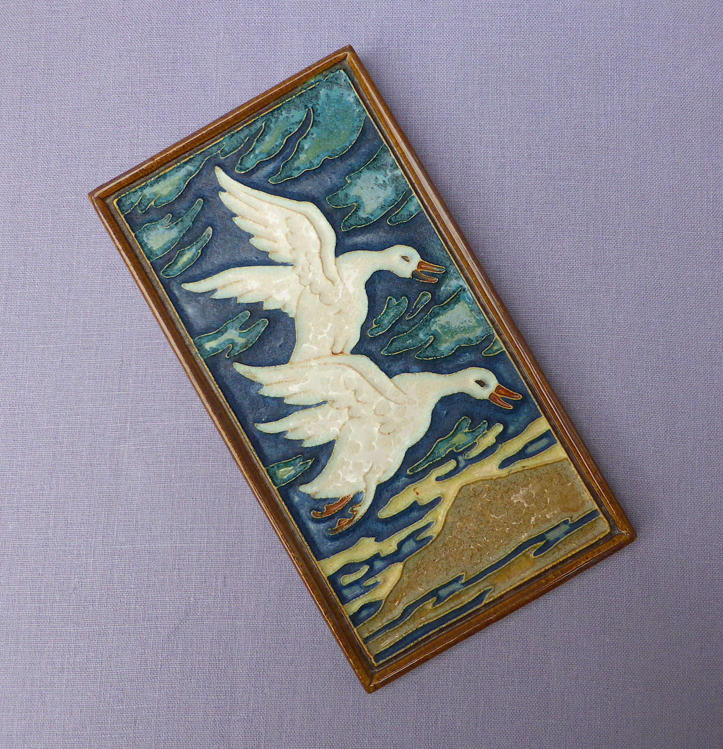 Royal Delft Flying Goose Plaque