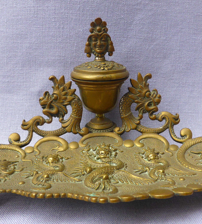 1920s Oriental Dragon Brass Desk Stand