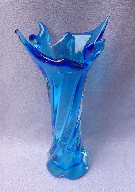 Turquoise Twisted Glass Splash Vase