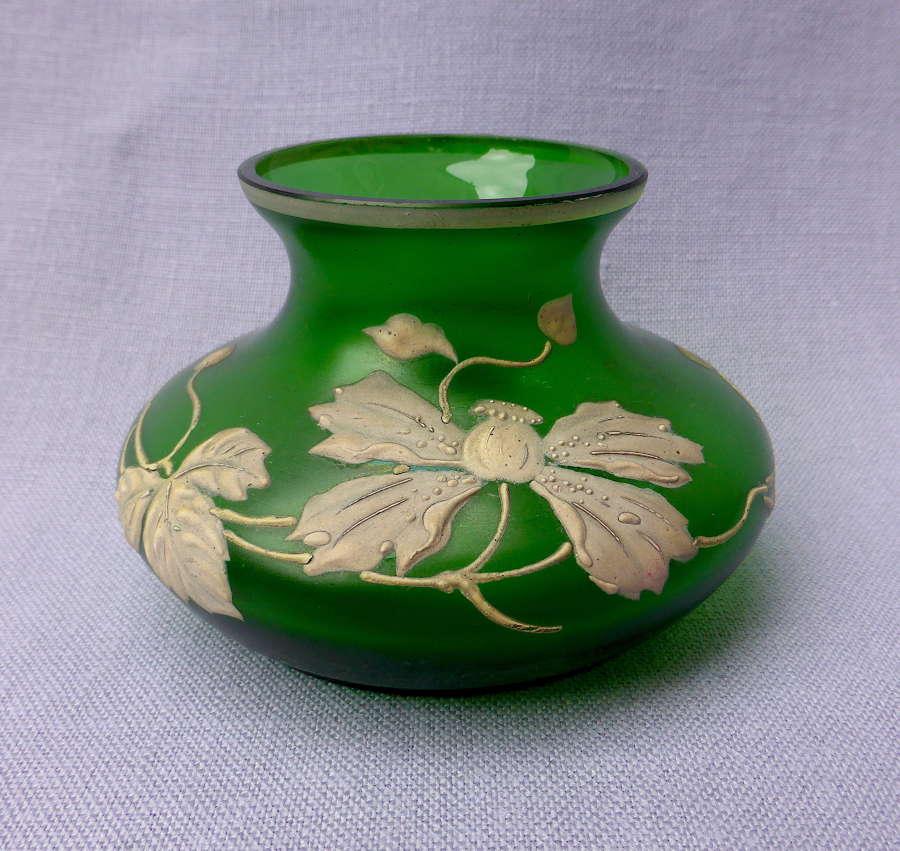 Art Nouveau Bohemian Satin Glass Vase