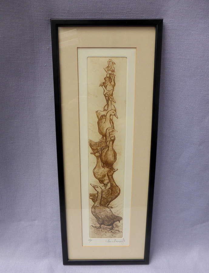 Framed goose etching by Anna Ravenscroft