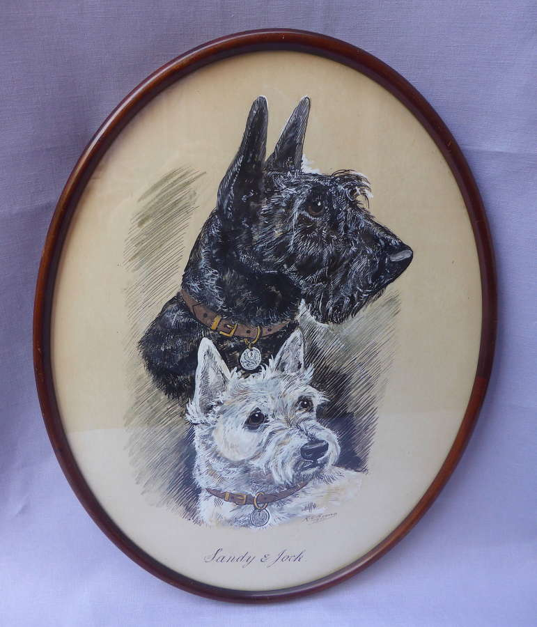 Signed Pen & Ink Drawing of Scottie Dogs by K C Brown