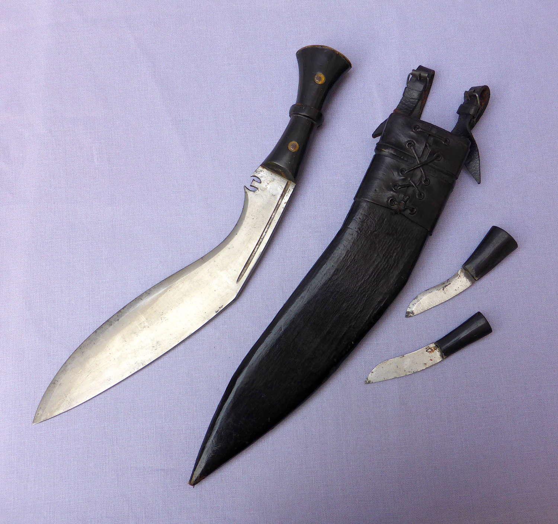 Early 20thC Gurkha Khukuri Knife & Scabbard