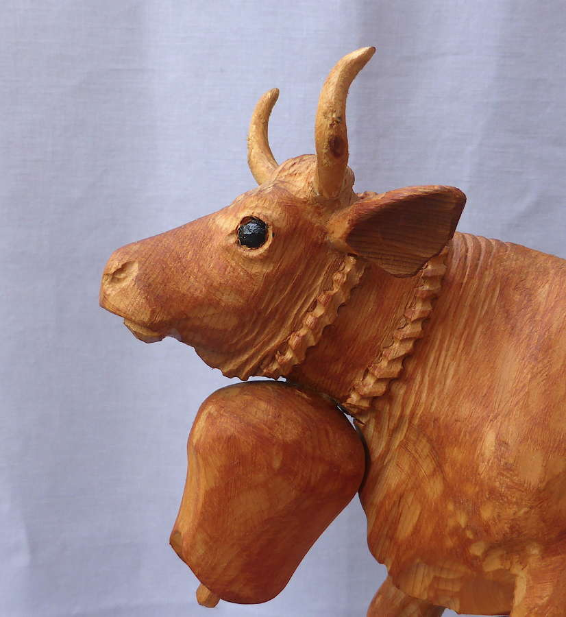 Carved Wooden Alpine Cow