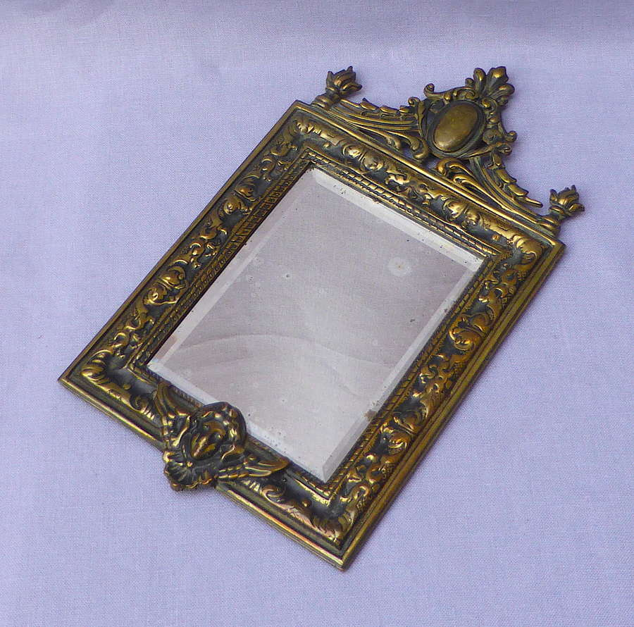 French Brass Baroque Style Mirror
