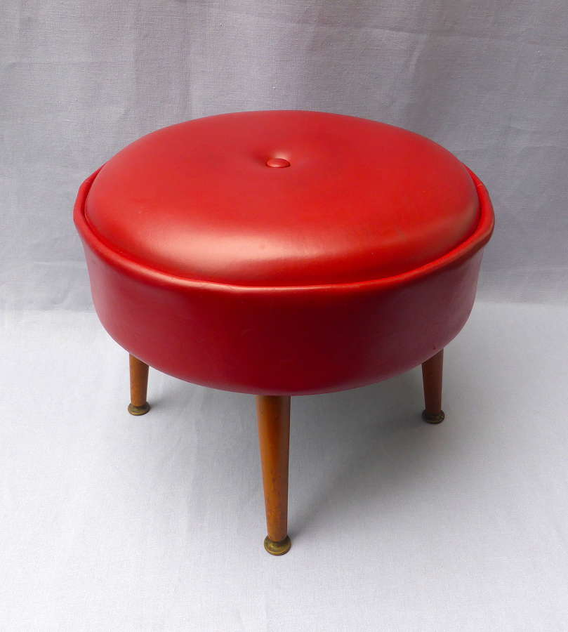 Red vinyl leatherette footstool