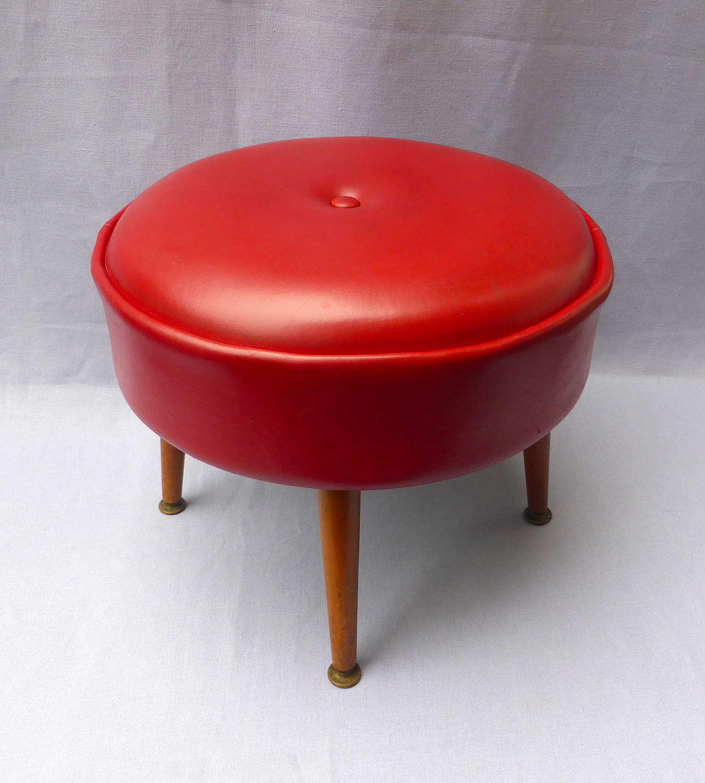 Red vinyl leatherette footstool