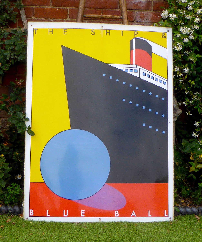 Ship & Blue Ball Metal Pub Sign by Dan Fern