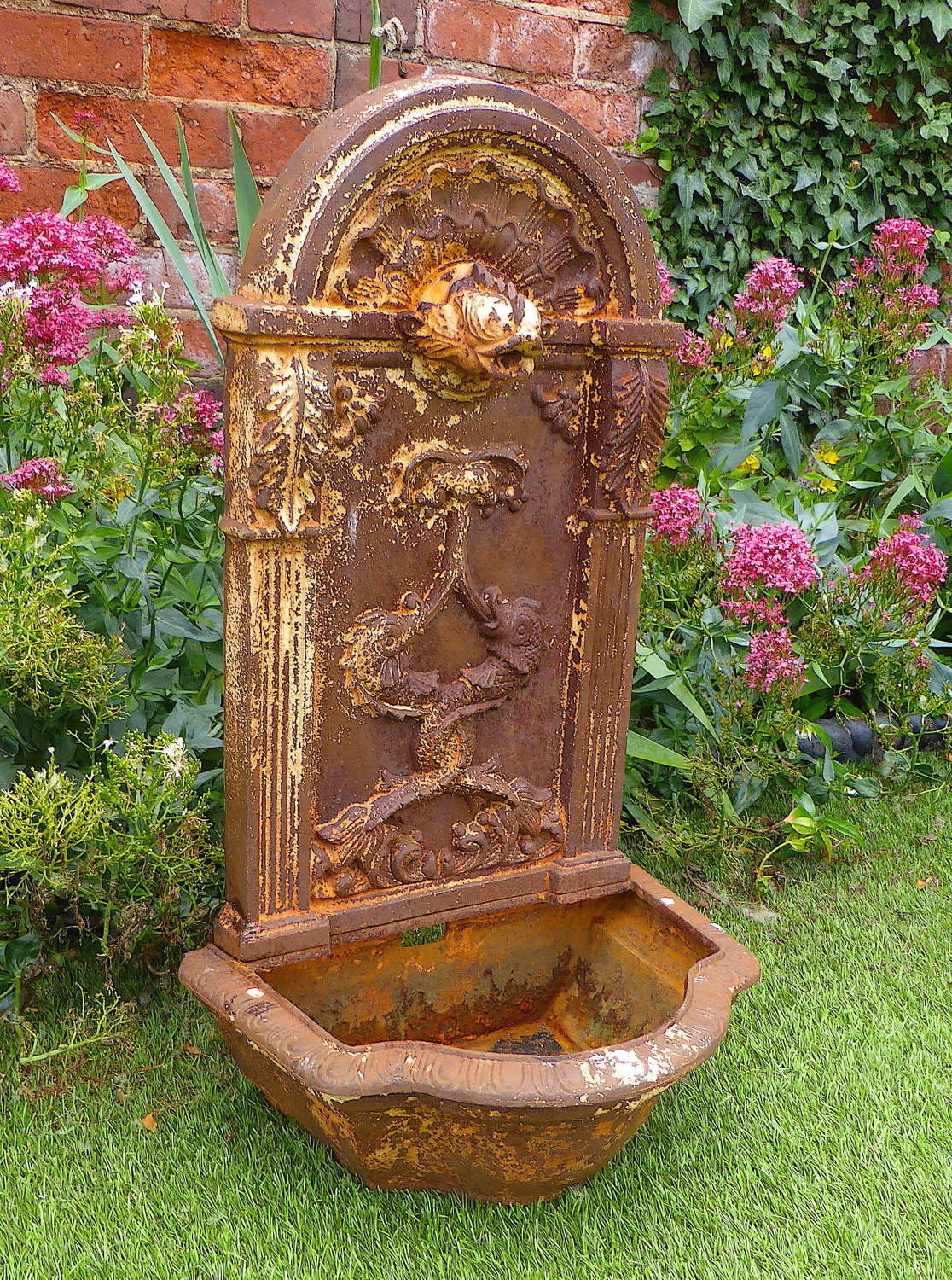 Victorian Cast Iron Dolphin Wall Fountain