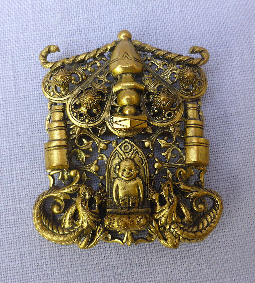1930s Oriental Style Billiken Good Luck Brooch