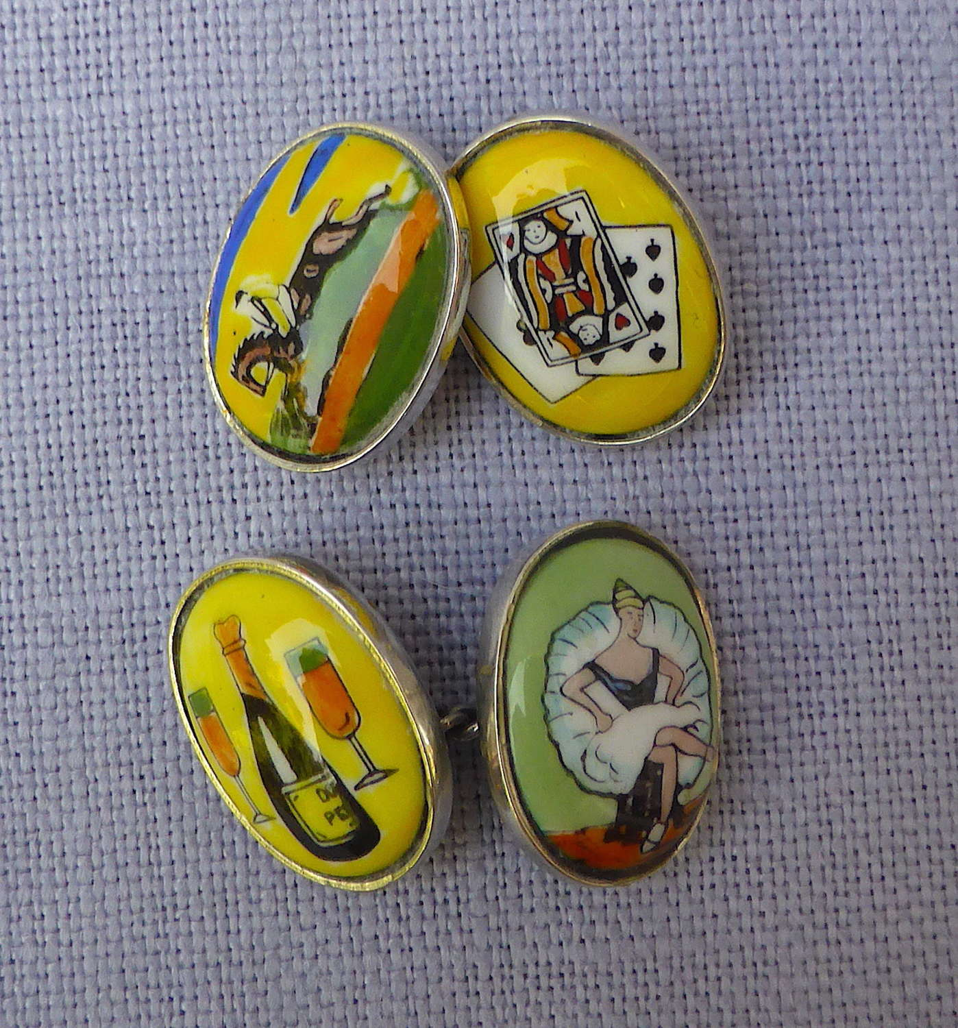 Pair of Silver Four Vices Cufflinks