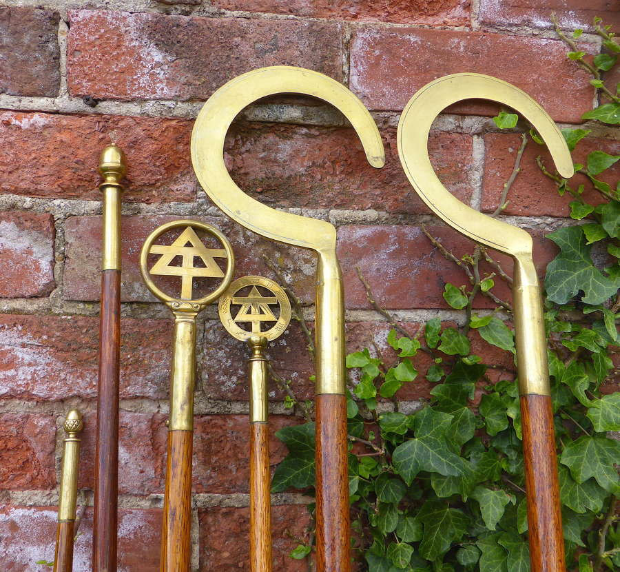 Six Late 19thC Friendly Society Processional Staves