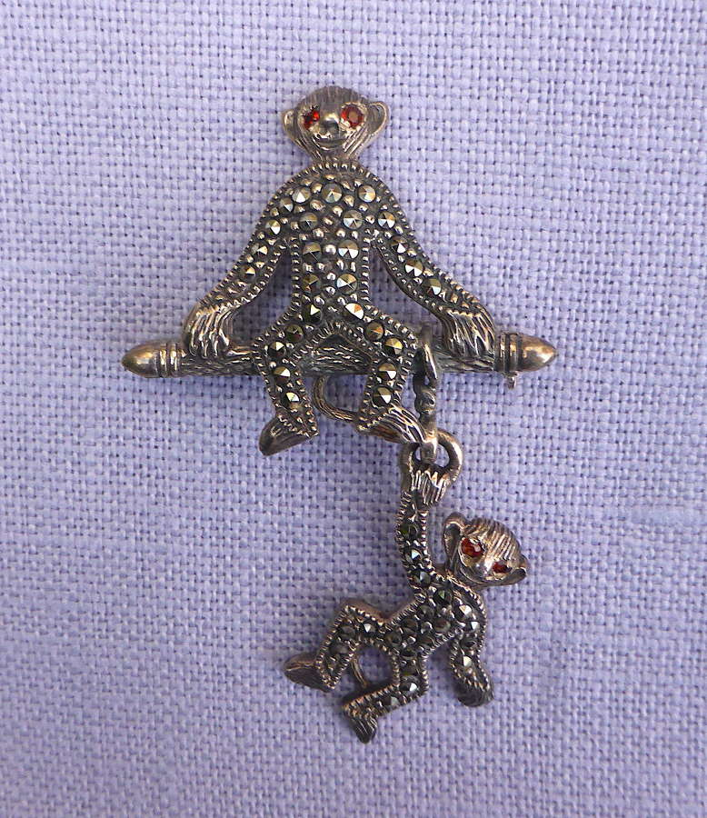Silver & Marcasite Articulated Monkey Brooch
