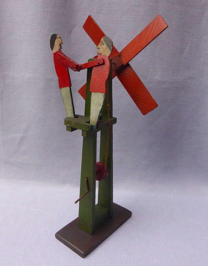 Wooden Folk Art Windmill Automaton