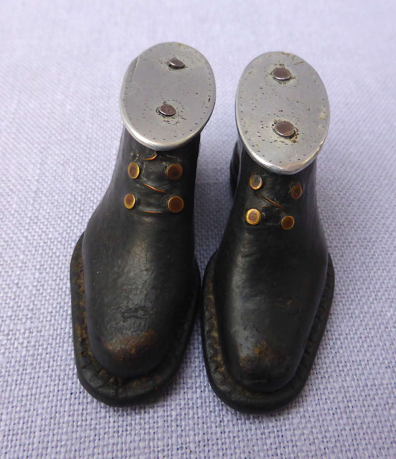Pair of Miniature Leather Folk Art Apprentice Boots