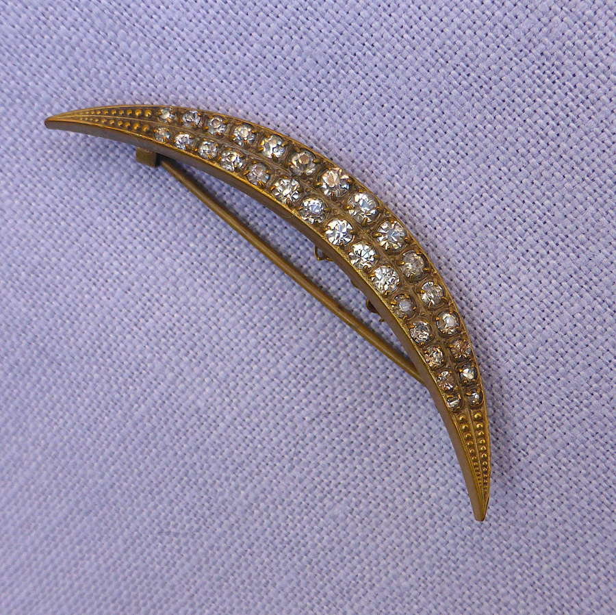 Beautiful Victorian Crescent Moon Brooch