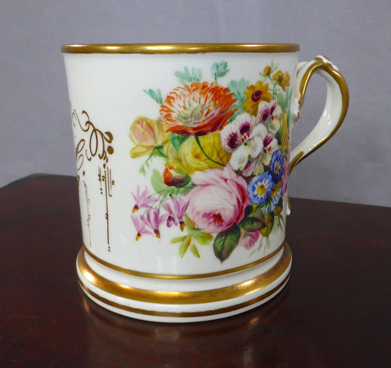 Handpainted 19th Century Floral Cider Mug