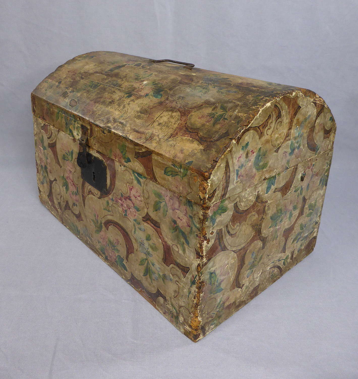 Small 19th Century Wallpaper Covered Trunk