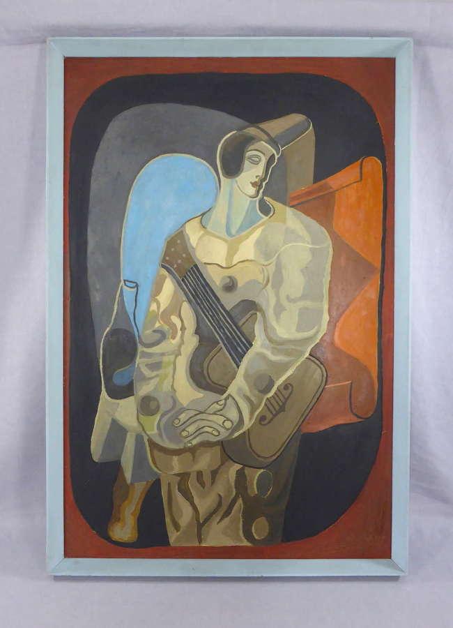 Large Cubist Pierrot Painting After Juan Gris