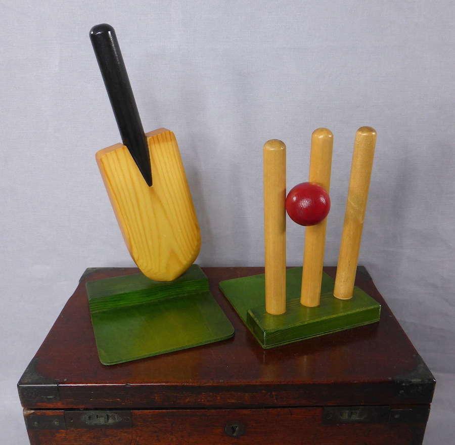 Cricket Bat & Stumps Bookends