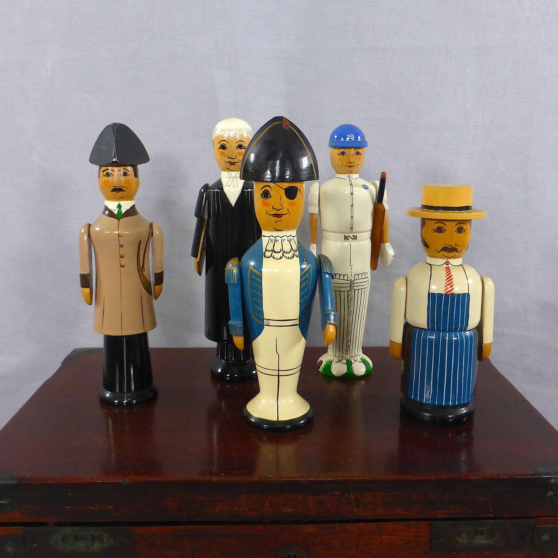 Five Handmade Wooden Stump Dolls
