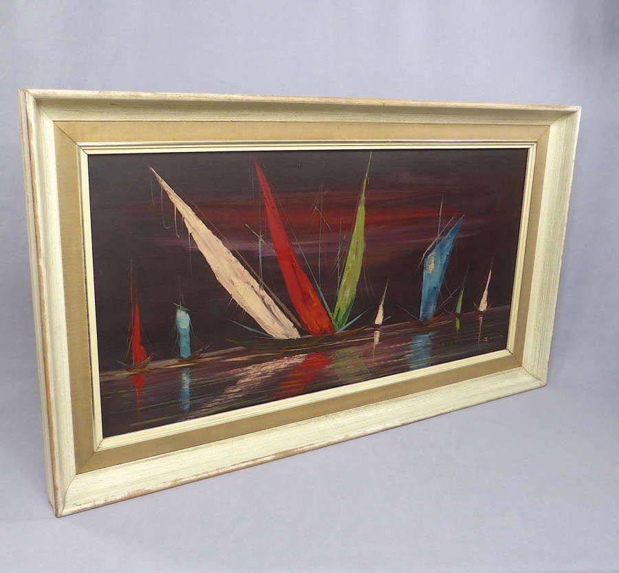 Mid Century Framed Oil on Canvas