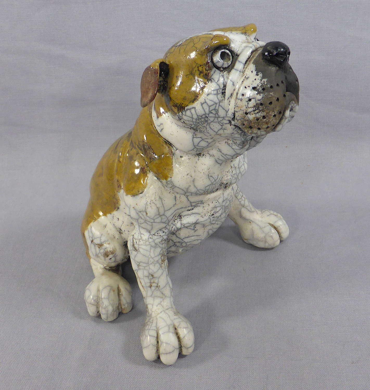 Raku Pottery Bulldog by Phil Hayes