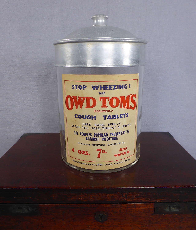 Owd Tom's cough tablets jar