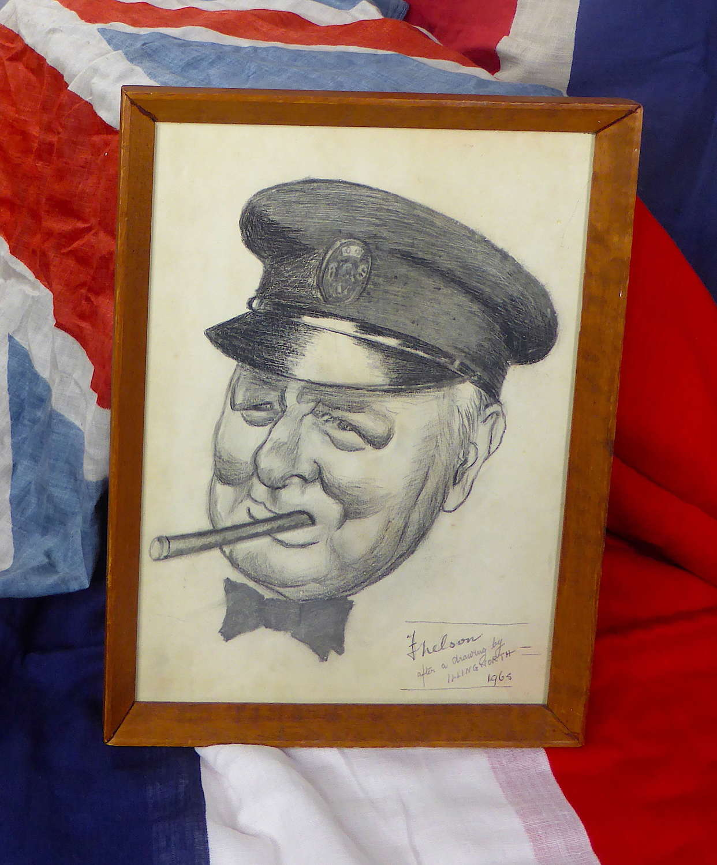 Pencil drawing of Churchill
