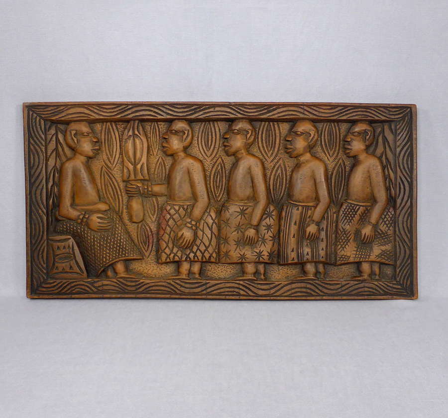 African carved wooden Yoruba panel