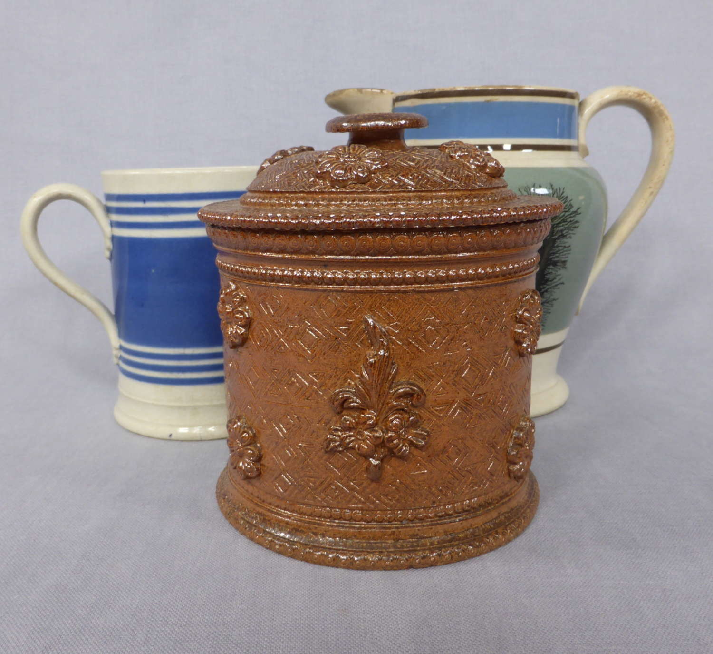 Sprigged salt glazed tobacco jar