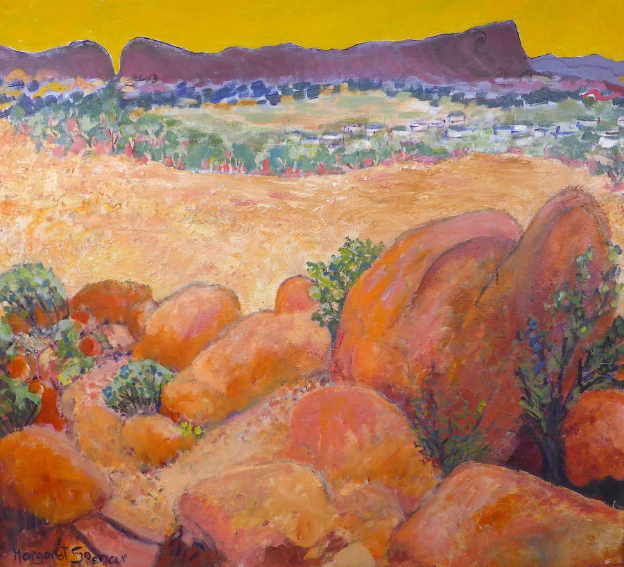 Signed abstract painting of Alice Springs, Australia